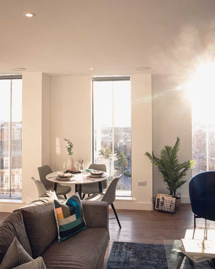 An apartment at Hadrian's Tower in Newcastle with sunlight beaming through the window